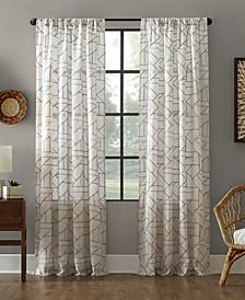 "Jigsaw Embroidery Linen Blend Curtain, 50"" W x 95"" L"