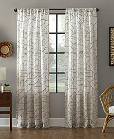 """Archaeo Jigsaw Embroidery Linen Blend Curtain, 50"""" W x 95"""" L"""