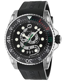 Men's Swiss Diver Black Rubber Strap Watch 45mm