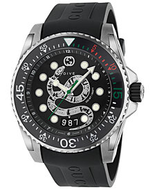 Gucci Men's Swiss Diver Black Rubber Strap Watch 45mm