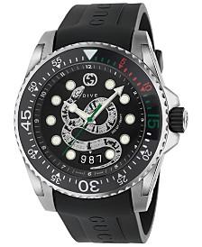 Gucci Men's Swiss Diver Black Rubber Strap Watch 45mm