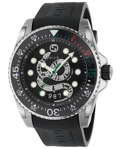 b85ede7a3c3 Gucci Men s Swiss Diver Black Rubber Strap Watch 45mm   Reviews ...