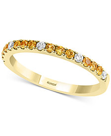 EFFY® Yellow Sapphire (1/4 ct. t.w.) and Diamond (1/10 ct. t.w.) Band in 14k Gold