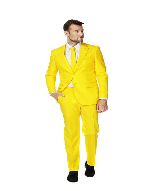 OppoSuits Men's Yellow Fellow Solid Suit