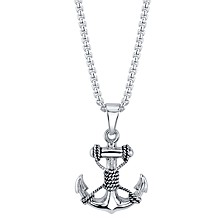 "Anchor with Rope Pendant Necklace in Stainless Steel, 24"" Chain"