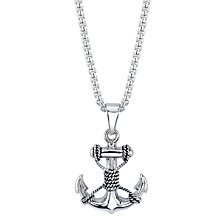 "He Rocks Anchor with Rope Pendant Necklace in Stainless Steel, 24"" Chain"