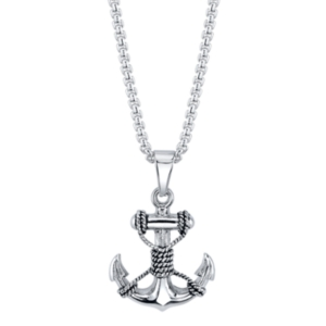 He Rocks Anchor with Rope Pendant Necklace in Stainless Steel, 24