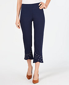 JM Collection Studded Tulip-Hem Pants, Created for Macy's