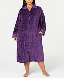 Miss Elaine Plus Size Textured Fleece Long Zip Robe