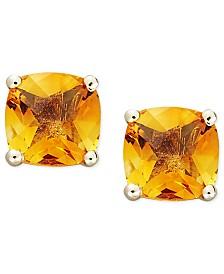 14k Gold Earrings, Cushion Cut Citrine Stud Earrings (1-3/4 ct. t.w.)