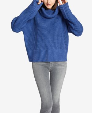 SANCTUARY Cowl Neck Shaker Sweater in Electric Blue
