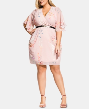 City Chic Trendy Plus Size Belted Faux-Wrap Dress In Blushing Vine ...