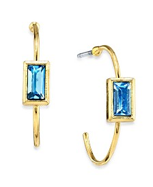 2028 14K Gold Dipped Square Crystal Open Hoop Stainless Steel Post Earring