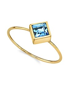 2028 14K Gold Dipped Diamond Shaped Crystal Ring