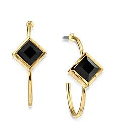 14K Gold Dipped Diamond Shape Crystal Open Hoop Stainless Steel Post Small Earrings