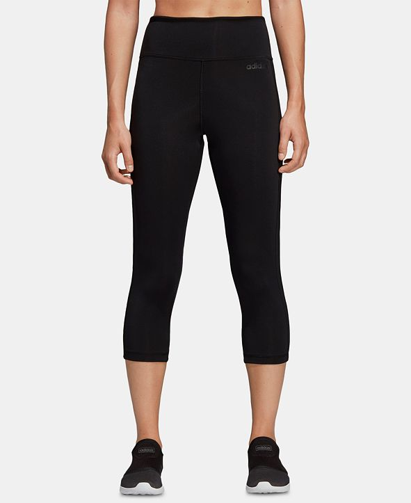 adidas Women's Design 2 Move 3-Stripe ClimaLite® High-Rise Cropped Leggings
