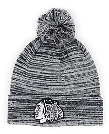 Chicago Blackhawks Black White Cuffed Pom Knit Hat