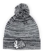 1f35a7ce225836 Authentic NHL Headwear Chicago Blackhawks Black White Cuffed Pom Knit Hat
