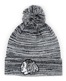 Authentic NHL Headwear Chicago Blackhawks Black White Cuffed Pom Knit Hat