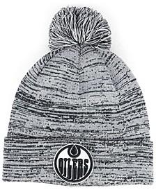 Edmonton Oilers Black White Cuffed Pom Knit Hat