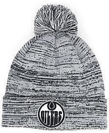 Authentic NHL Headwear Edmonton Oilers Black White Cuffed Pom Knit Hat
