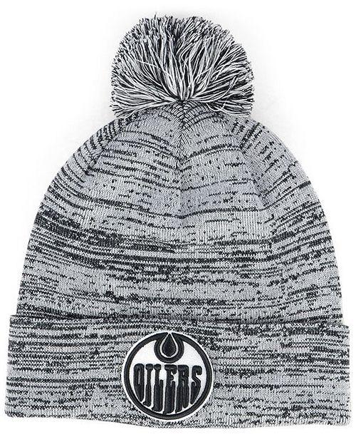 new arrival 58ab7 6108b ... Authentic NHL Headwear Edmonton Oilers Black White Cuffed Pom Knit Hat  ...