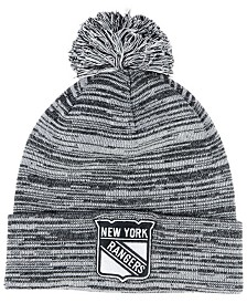 Authentic NHL Headwear New York Rangers Black White Cuffed Pom Knit Hat