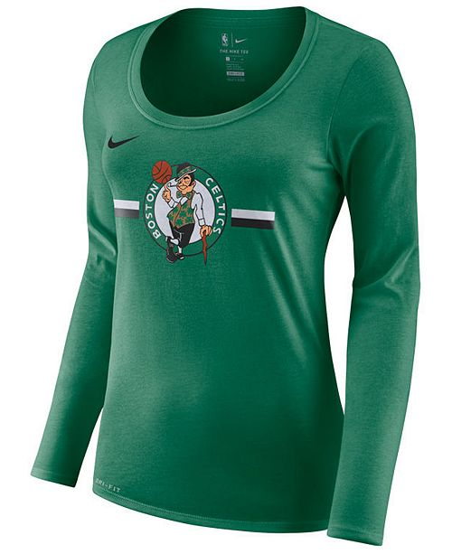 Nike Women s Boston Celtics Dri Logo Long Sleeve T-Shirt - Sports ... f303718d31