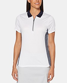 Printed Colorblocked Zip Golf Polo