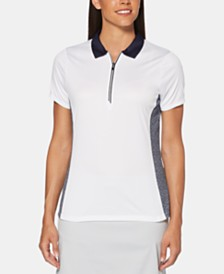 PGA TOUR Printed Colorblocked Zip Golf Polo