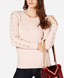MICHAEL Michael Kors Ribbed Sleeve-Cutout Sweater