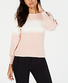 Vince Camuto Cotton Balloon-Sleeve Intarsia Sweater