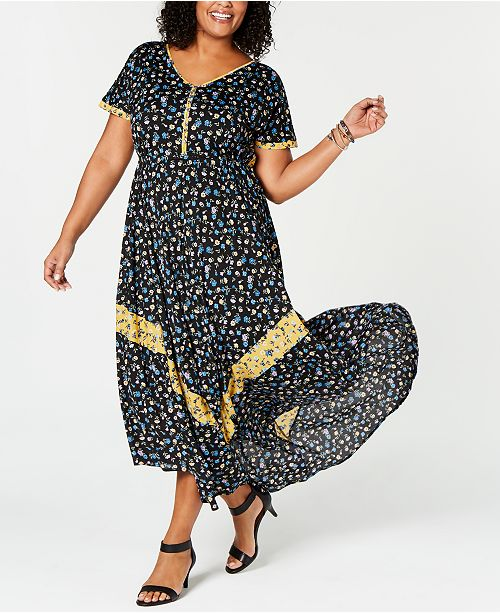 Style & Co Plus Size Floral-Print Maxi Dress, Created for Macy\'s ...