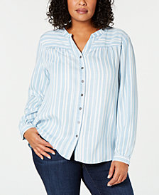 Style & Co Plus Size Split-Neck Striped Shirt, Created for Macy's