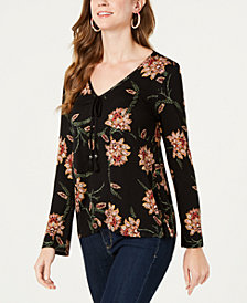 Style & Co Petite Printed V-Neck Tassel Top, Created for Macy's