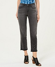 Grommet-Trimmed Straight-Leg Cropped Jeans, Created for Macy's