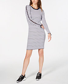MICHAEL Michael Kors Striped Lace-Up Sleeve Sweater Dress