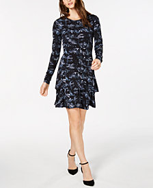 MICHAEL Michael Kors Snake-Print Ruffled-Hem Dress, In Regular & Petite Sizes