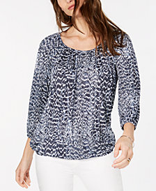 MICHAEL Michael Kors Printed Scoop-Neck Blouson Top, In Regular & Petite Sizes