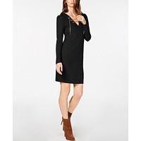 Macys deals on MICHAEL Michael Kors Ribbed Lace-Up Sweater Dress