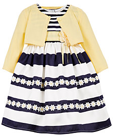 Blueberi Boulevard Little Girls Striped Dress and Cardigan