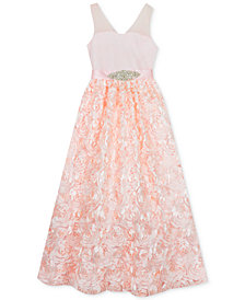 Rare Editions Little Girls Mesh Illusion Soutache Gown