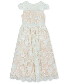 Rare Editions Big Girls Embroidered Illusion Dress