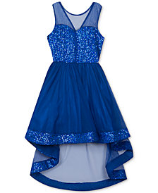 Rare Editions Big Girls Glitter High-Low Illusion Dress
