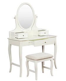 April Vanity Set with Bench and Mirror