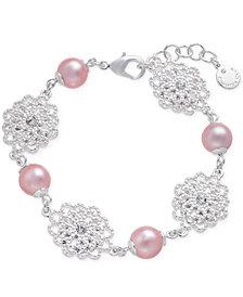 Charter Club Silver-Tone Crystal Filigree & Imitation Pearl Flex Bracelet, Created for Macy's
