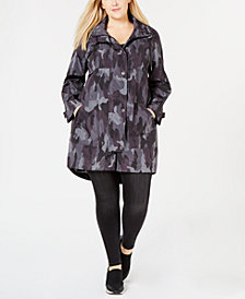 Style & Co Plus Size Camo-Print Hooded Jacket, Created for Macy's
