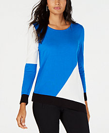 Alfani Colorblocked Asymmetical-Hem Sweater, Created for Macy's