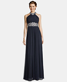Betsy & Adam Embroidered Halter Gown