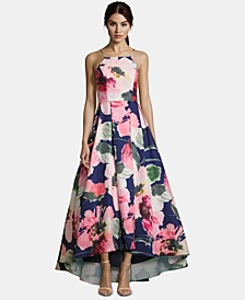 High-Low Floral-Print Gown
